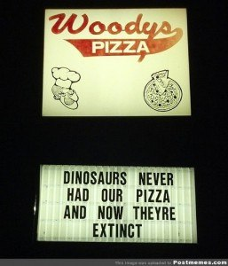Sign for pizza
