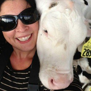 Jill and her new-found love, dairy cows!